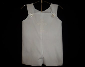 Baby Boy Shortall-Romper-John John-Jon Jon-Overalls- Boy Christening-Baby Dedication-Baptism-Wedding-Easter-Confirmation-