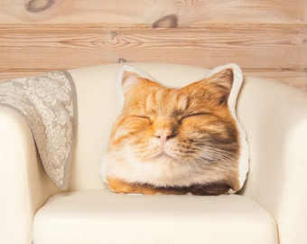 Orange Cat Pillow, best cat lover gifts, gift for her, stuffed animal cat