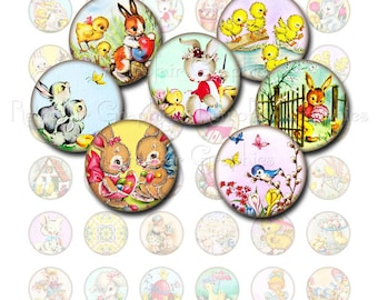 Vintage Easter Circles, Digital Collage Sheet of one inch Round Images of Bunnies, Chicks, Rabbits, Printable Instant Download
