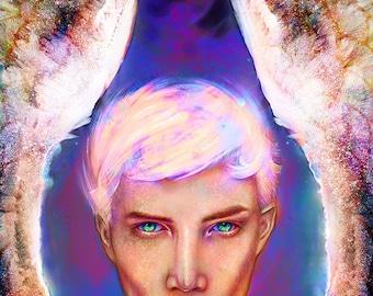 Angel Art Print, Angel Uriel Fantasy Art Print, Beautiful Angel Art Print, Guardian Angel Art, Fantasy Angel Art, Archangel Uriel Art