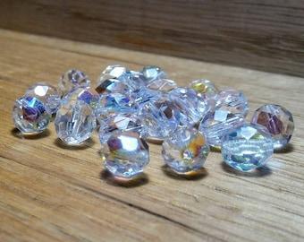 Czech Fire Polished Beads, Crystal AB, 8 mm
