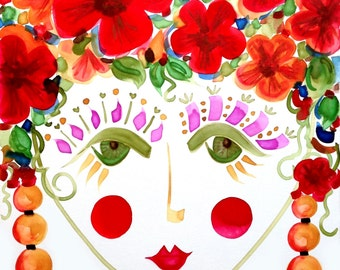 Meet Hibiscus! A Gypsy Garden Girl - Carmen Miranda Inspired Face - Print from Original Watercolor Painting by Suzanne MacCrone Rogers