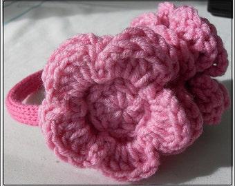 Pink Ear Warmer Headband, Crochet Flowers, Girls Pink Ear Warmers, 4 years to 9 years, Crocheted Ear Muffs, Knitted Headband Ear Warmers.