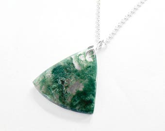 Moss Agate Necklace in Sterling Silver