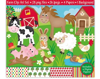 Farm Clipart,Farm Digital Papers,Farm Clip Art,Cute Farm Animals Clipart,Sheep,Cow,Horse Clipart,Barnyard,Scrapbooking,Commercial Use (C11)