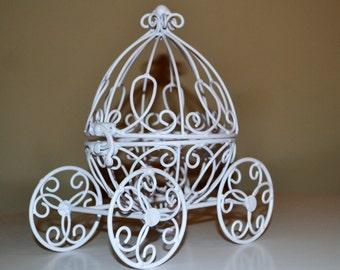 White Miniature Cinderella Carriage, Fairytale Wedding Cake Topper, Small Cinderella Carriage