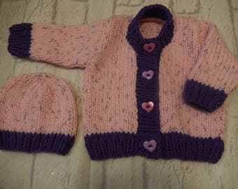 hand knit sweater set / baby girl cardigan / knitted baby cardigan / baby girl cap / pink and purple cardigan / 3-6 month sweater set