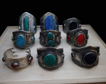Bulk Lot 9 Tribal Bracelets Central Asian Jewelry Resale Vending Gifts Haflas Mixed Styles and Colors