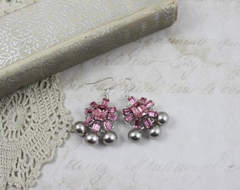 Vintage Assemblage Pink Rhinestone and Pearl Dangle Earrings, Pink and Taupe Bridal Earrings, Pink Crystal and Taupe Pearl Dangle Earrings