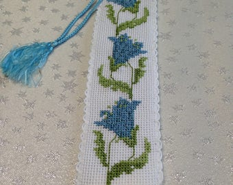 Cross stitch bookmark with blue bell flowers, hand embroidered bookmark with blue flowers, unique gift, reader's gift, one -off gift