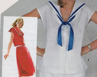 ON SALE Vintage 1980s Sailor Collar Pullover Dress or Blouse Sewing Pattern Simplicity 5482 80s Jiffy Pattern Size 10 Bust 32.5 UNCUT
