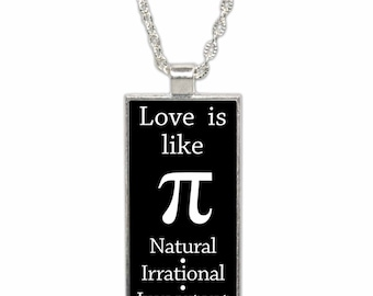 Love is Like Pi funny Math Pendant Necklace with Chain