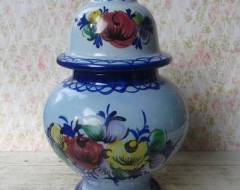 Pot with lid, blue, Portugal, earthenware, pot, painted