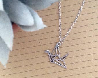 Chain necklace with origami crane pendant