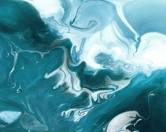 "Abstract Watercolor Giclée Fine Art Print - Teal Blue Watercolor - Original Design - Fine Art - Home Decor - Riptide ""B"" - 8x10 - 11x14"
