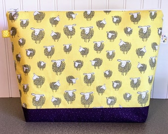 Knitting Project Bag features Fluffy Sheep