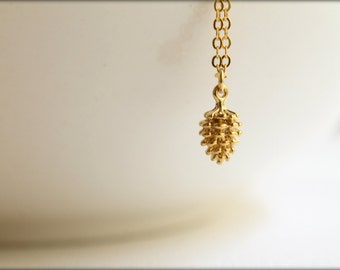 Tiny Pinecone Necklace, Available in Gold and Antiqued Gold