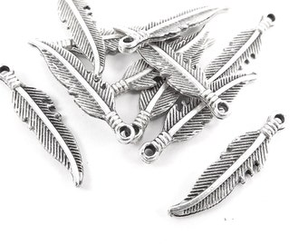 10 Tribal Feather Charms - Matte Antique Sliver Plated