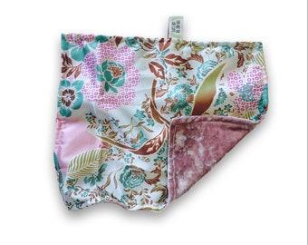 2 PACK / BABY  mini security lovey BLANKET / Smooth velvet with silky satin /  / 2pack / Mini lovie security blanket