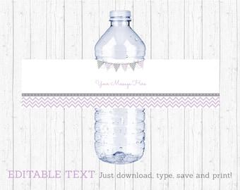 Chevron Water Bottle Labels / Water Bottle Wraps / Chevron Baby Shower / Purple Chevron / Printable INSTANT DOWNLOAD Editable PDF A213