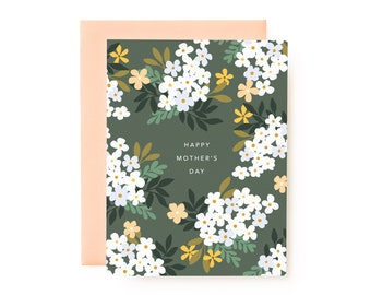 Happy Mother's Day Card   Floral Hand Illustrated Mother's Day Greeting Card