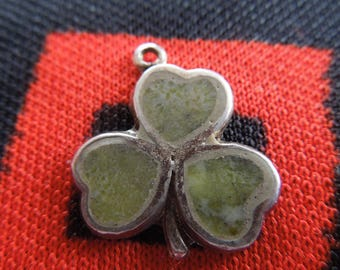 Enamel Sterling Clover Charm Vintage Three Leaf Clover Charm Silver Charm for Bracelet from Charmhuntress 04404