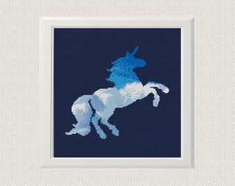 watercolor clouds Unicorn Cross Stitch Pattern,  Unicorn  Silhouette Counted Cross Stitch, Unicorn Animal Modern Home Decor Nursery