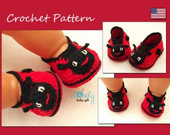 Crochet Pattern, Ladybug Shoes Crochet Pattern, Baby Booties Crochet Pattern, Ladybird Shoes Crochet Pattern, Instant Download, CP-202