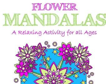 Flower Mandala  Adult Coloring Book, Instant Digital Download of 25 Mandalas +1 Bonus Page