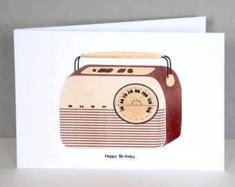 Bush Radio Birthday Card | Retro Greeting Card | Radio Greeting Card | Retro Card | Card for Him | Card for Musicians | Vintage Radio Art