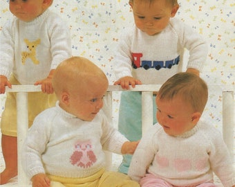 Baby Sweater PDF Knitting Pattern : Babies 16, 18, 20 and 22 inch chest . Owl, Train, Heart, Lion, Rabbit, Clown, Duck, Deer Motif