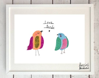 Lovebirds Cute Print Illustration Home Decor Nursery Art