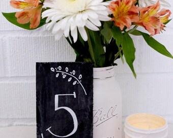 Chalkboard Table Numbers - Wedding Table Numbers - Cottage Chic Table Numbers - Chalkboard Paint Wedding Numbers
