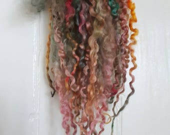 English Country Garden - extra long variegated Teeswater locks.  Wool supply for spinning, dolls hair weft and reroot, felting craft wool