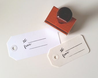 """Hand Calligraphy """"To From"""" Gift Tag Rubber Stamp"""