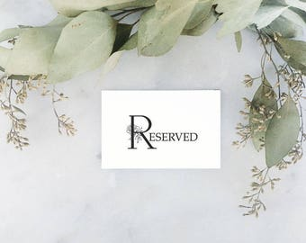 Elegant Reserved Table Place Cards, PDF Instant Download, Wedding Sign, Reserved Sign, Wedding Decoration Printable, Tented Card, Flat Card