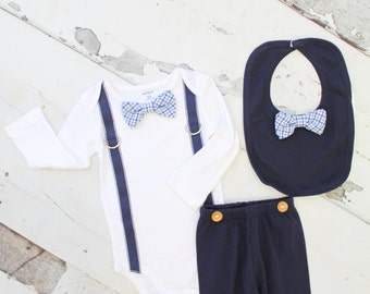 Easter Spring Baby Boy Bow tie & Newborn Coming Home Outfit Set up to 4 Items.  Bodysuit, Navy Blue Pants, Leg Warmers, Knit Newsboy Hat