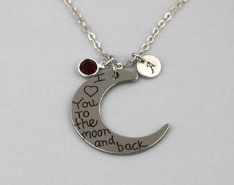 i love you to the moon and back necklace, sterling silver filled, initial necklace, OPTIONAL birthstone or pearl, laserer engraved jewelry
