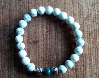 1421 - mens bracelet, white howlite and lapis lazuli
