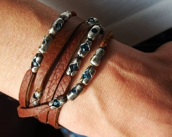Womens Leather Bracelet  Wind River   Swarovski Crystal Beaded Bracelet, Custom Leather Wrap Cuff or Bangle, Womens Swarovski Necklace