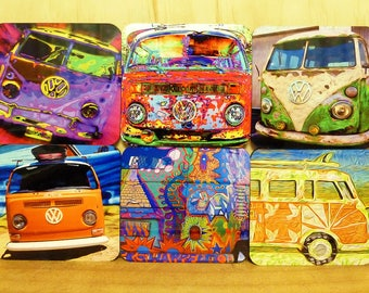 Set of 6 coasters - 95mm Square, MDF/Cork - Old Kombi Vans