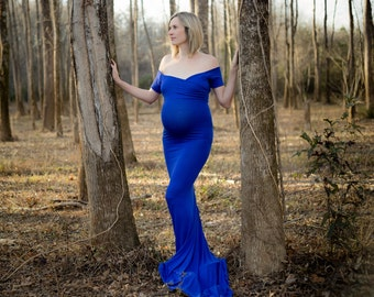 Maternity Dress-Long Maternity Dress-Fitted Maternity Gown-Sweetheart Pregnancy Dress-Maxi Gown-Short Sleeve Maternity Dress-BELLA Dress