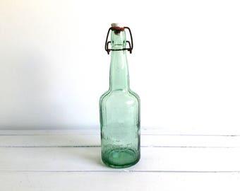 Vintage glass bottle 'Limonade Map' * bottle with porcelain cap * farmhouse decoration * green glassware