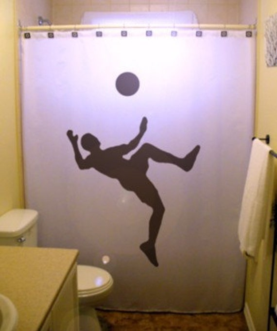 Soccer Shower Curtain Sports Player Bathroom Decor For Kids