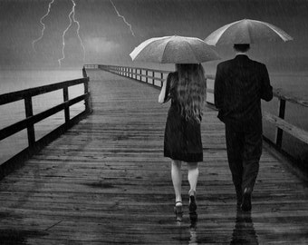 Weathering the Storm Together a Couple on a Lake Michigan Pier during a Thunderstorm A Black and White Fantasy Surreal Fine Art Photograph