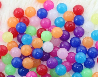 140 pcs 10mm Crystal Round Beads - Assorted Colors Small Beads Resin Jewelry Making Craft Supplies