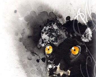 """Martinefa's Original watercolor and Ink """"Lemur"""""""