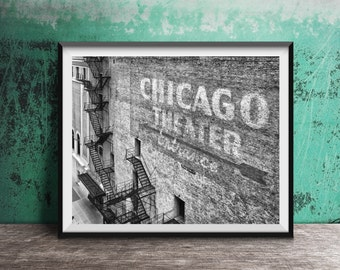 """Chicago Photography Print """"Chicago Theater Entrance"""" urban photo"""