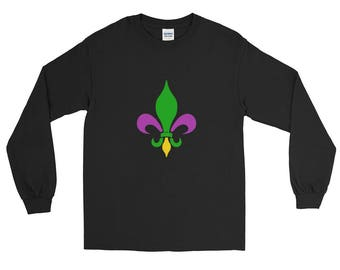 Fleur De Lis Mardi Gras New Orleans Funny T-Shirt Long Sleeve T-Shirt