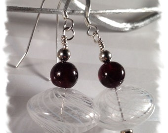 WinterBerries--Garnets with Sterling Silver and White Swirled Glass Earrings--January Birthstone